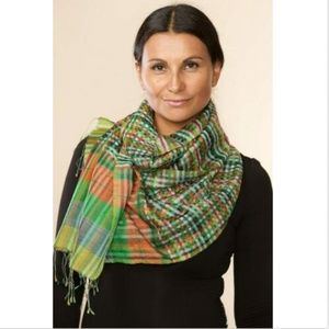 Silk and Wool Green Plaid Scarf Handmade in India